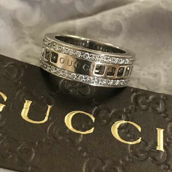 e95ab3c3f Gucci Jewelry | 18k White Gold Diamond Spinning Ring 7 | Poshmark